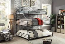 CM-BK918 Olga III triple twin over full over queen sand black metal frame industrial bunk bed