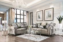 2 pc Sinatra collection gray chenille fabric upholstered sofa and love seat set with nail head trim