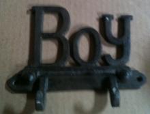 Cast iron boy wall hanger