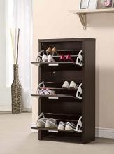 Coaster 900604 Black finish wood three door shoe cabinet with room for 4 pairs in each drawer