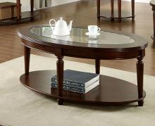 CM4131OC Granvia dark cherry wood finish oval coffee table with beveled table top glass