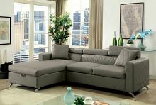 CM6292 2 pc dayna gray leatherette sectional sofa set with pull out sleep area
