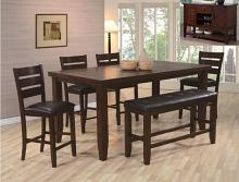 2752T-4278-6PC 6 pc Gracie oaks bardstown dark wood finish counter height dining table set with bench