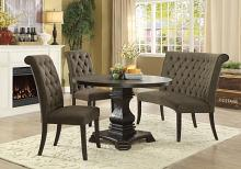 Furniture of america CM3840RT-GY-4PC 4 pc nerissa antique black finish wood round dining table set with gray tufted chairs