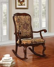 Sharan collection cherry finish wood and tapestry floral pattern fabric upholstered rocking chair