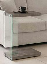 Weathered grey finish and glass snack side accent chair side table