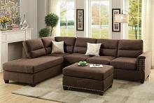 Poundex F7613 3 pc collette chocolate polyfiber linen like fabric sectional sofa with nail head trim accents