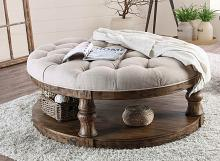 CM4424A-F-C Mika antique oak finish wood tufted top round coffee table