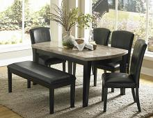 6 pc cristo collection espresso finish wood and marble top dining table set with upholstered seats