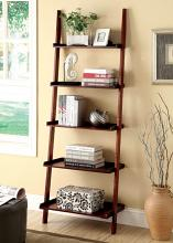 CM-AC6213CH Sion cherry finish wood 5 tier corner leaning bookcase shelf