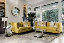 SM2216 2 pc Rosdorf park mylor tegan royal yellow plush microfiber fabric sofa and love seat