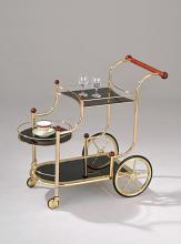 Mace golden brass plated metal finish and black tempered glass shelves tea serving cart with casters