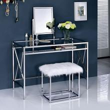 Furniture of america CM-DK6707CRM 3 pc lismore collection chrome finish metal frame make up bedroom vanity set