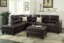 Poundex F7609 3 pc collette espresso bonded leather sectional sofa with nail head trim accents
