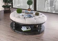 CM4424GY-F-C Mika antique gray finish wood round fabric top coffee table