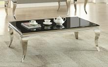 Wildon collection chrome finish and beveled black glass top coffee table