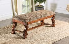 CM-BN6620 Vale royal oak finish wood floral fabric padded bench decorative carvings
