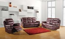 Global United 9392BUR-2PC 2 pc Parsons II collection burgundy leather aire upholstered sofa and love seat with console with recliner ends