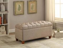 Coaster 500064 Melissa collection taupe faux linen fabric upholstered tufted top storage bedroom ottoman bench