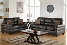 Poundex F7878 2 pc collette collection espresso bonded leather upholstered sofa and love seat set with nail head trim and rounded arms