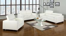 CM6336WH 3 pc makri white bonded leather sofa , love seat , chair foldable headrests chrome legs