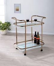 CM-AC235 Tiana collection champagne finish metal two level tea cart tray with casters