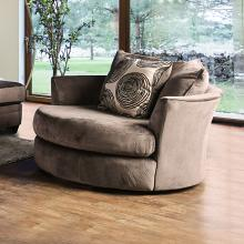 Furniture of america SM5142BR-CH Bonaventura brown plush microfiber swivel oversized round accent chair