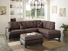 Poundex F6857 3 pc martinique ii two tone chocolate fabric and faux leather sectional sofa reversible chaise and ottoman
