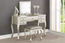 Poundex F4145 3 pc Angelica collection silver finish wood make up bedroom vanity set with curved legs stool and flip up mirror
