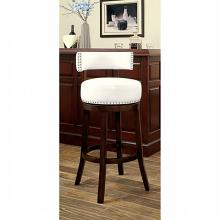 CM-BR6251-WH Set of 2 shirley white faux leather and dark oak finish wood bar stools