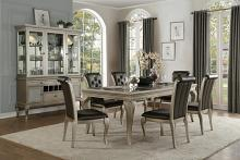 7 pc Crawford collection antique silver finish wood dining table set with glass top