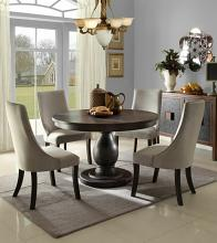 5 pc dandelion collection distressed dark brownish grey finish round dining table set
