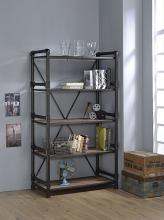 Acme 92220 Caitlin rustic oak finish wood black metal 5 tier book case shelf unit