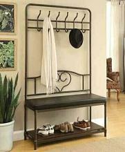 900932 Weatherly industrial design black mud room entry boot bench coat tree rack