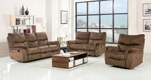 2 pc Reston collection light brown fabric upholstered sofa and love seat with recliner ends