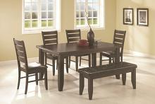 6 pc page espresso wood finish contemporary rectangular semi-formal dining table set