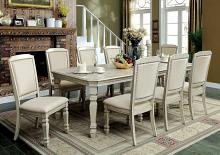 9 pc holcroft collection transitional style antique white finish wood dining table set