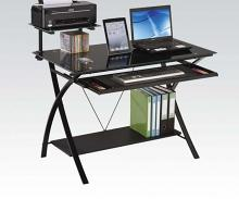 Acme 92078 Erma black finish metal and glass computer student work desk