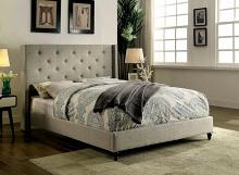 Anabelle collection warm gray fabric upholstered and tufted tall queen headboard bed frame set