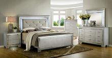 CM7979SV 5 pc bellanova silver finish wood queen bed set with padded and tufted crocodile textured faux leather headboard