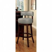 Set of 2 shirley collection gray faux leather and dark oak finish wood bar stools