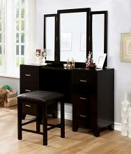 Furniture of america CM7088V Enrico collection espresso finish wood bedroom make up vanity set
