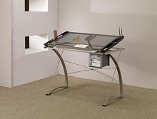 800986 Dark grey finish metal frame with tempered glass top drafting table tilt up surface desk