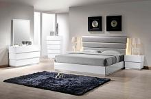 5 pc florence collection modern style queen bedroom set with white lacquer finish