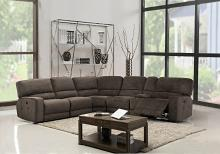Global United 9906BR-6PC 6 pc Restin II brown chenille fabric reclining sectional sofa set