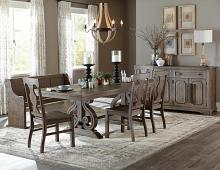 6 pc schleiger collection country style wire brushed dark pewter finish wood dining table set with bench