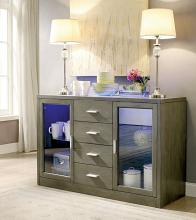 Furniture of america CM3559GY-SV Luminar i gray finish wood server with center led frosted glass light strip on top