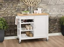 Acme 98315 Ottawa natural and white finish wood and metal accents kitchen island cart