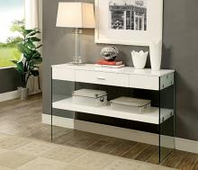CM4451WH-S Raya white finish wood and glass sofa console entry table