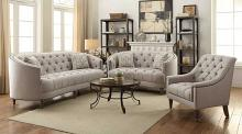 505641 2 pc Rosdorf park lenum avonlea grey linen like fabric sofa and love seat with tufted accents